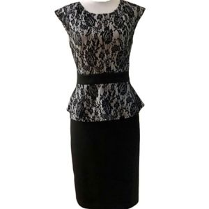 Black & White Floral Lace Peplum Sheath Dress